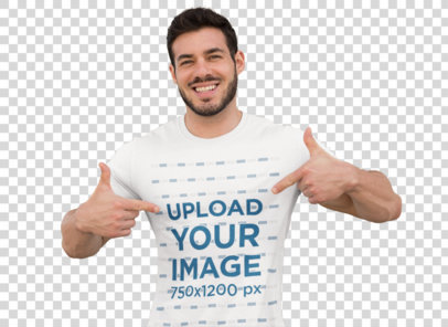 Transparent Mockup of a Muscular Man Pointing at His T-Shirt 28519