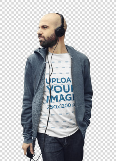 Transparent Heather T-Shirt Mockup Featuring a Bearded Man Listening to Music 37533-r-el2