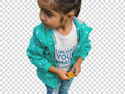 Transparent T-Shirt Mockup of a Little Girl Picking Flowers a12105