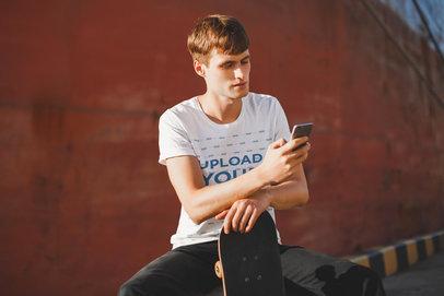 Transparent T-Shirt Mockup of a Skater Man Staring at His Phone 37933-r-el2