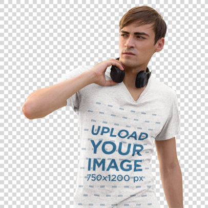 Transparent Heathered T-Shirt Mockup of a Man with Headphones on the Street 46701-r-el2