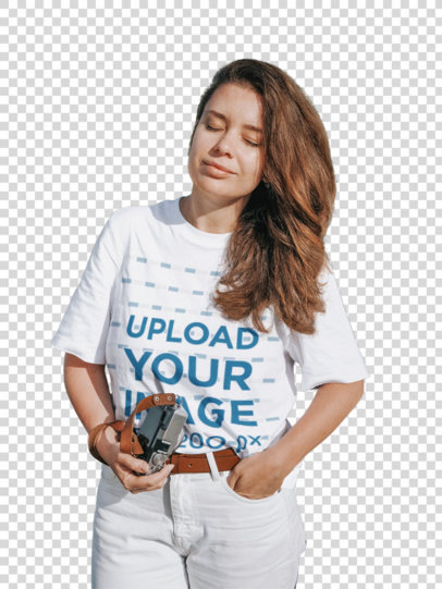 Transparent T-Shirt Mockup Featuring a Woman and Mountains in the Background m1609-r-el2