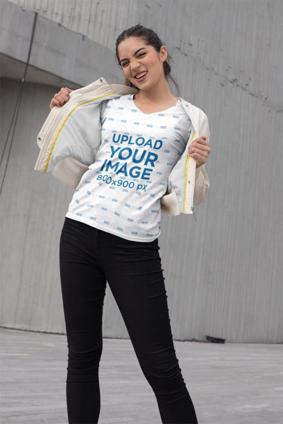Transparent Mockup of an Edgy Girl Showing off Her Sublimated V-Neck Tee 24933