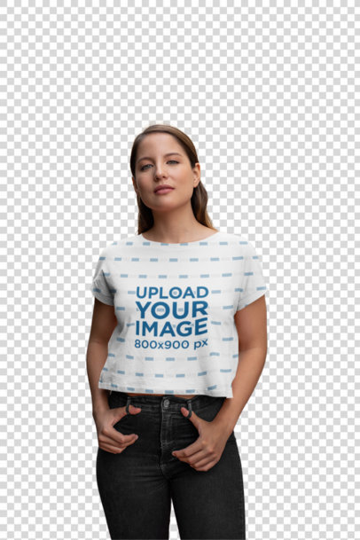 Transparent Sublimated Cropped T-Shirt Mockup of a Woman Standing Outside a House 28557