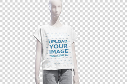 Transparent Mockup Featuring a Mannequin Wearing a Customizable T-Shirt at a Store 3710-el1