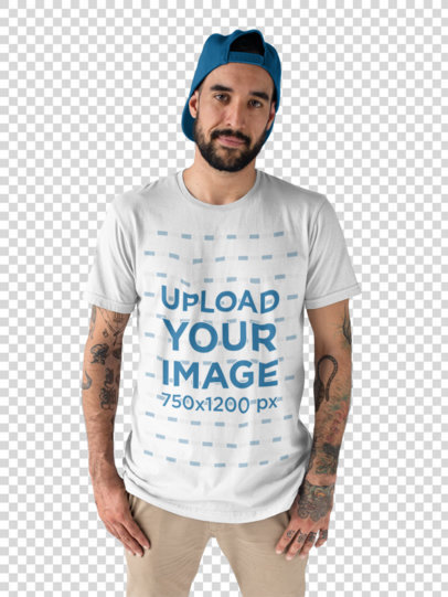 Transparent Front Shot of a Hipster Middle Aged Man Wearing a Round Neck T-Shirt Mockup a17015