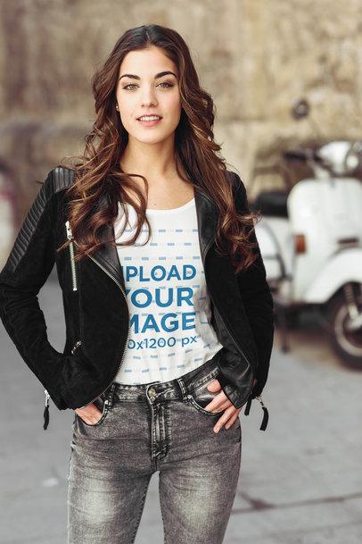 Transparent Mockup of a Stylish Woman Wearing a T-Shirt in an Urban Setting 40234-r-el2