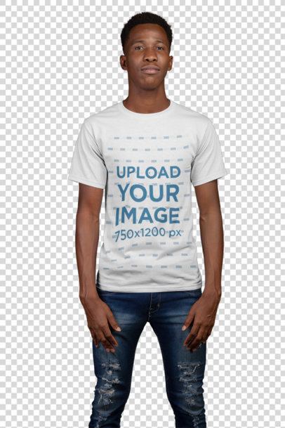 Transparent  T-Shirt Mockup of a Man with a Coy Smile 21156