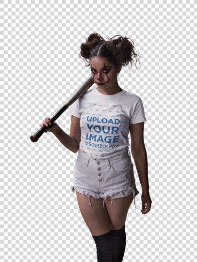 Transparent Round Neck Tee Mockup Featuring a Girl with Halloween Clown Makeup and a Baseball Bat 22924