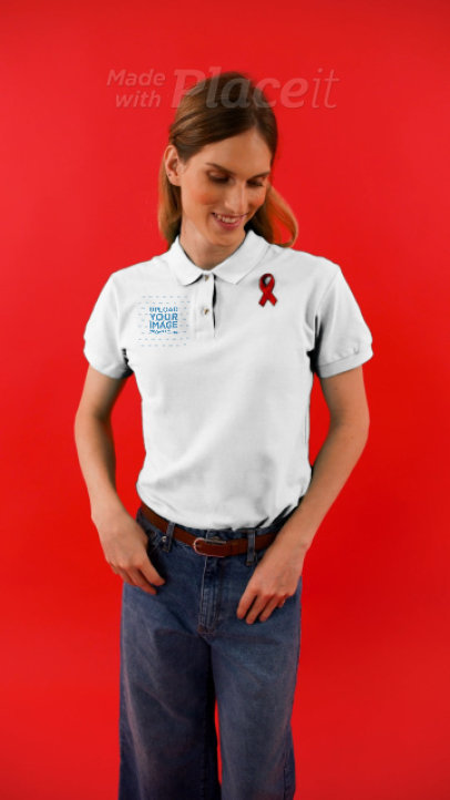 Polo Shirt video of a Woman Wearing a Red Ribbon for World AIDS Day 4164v