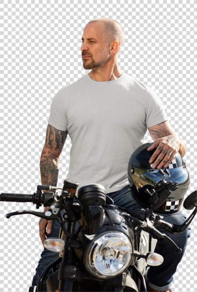 Transparent T-Shirt Mockup Featuring a Man on His Motorcycle 31784