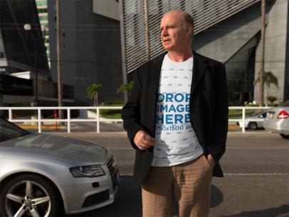 Transparent T-Shirt Mockup of an Elder White Business Man a11124