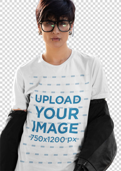 Transparent T-Shirt Mockup of an Edgy Woman with an Androgynous Style 32930