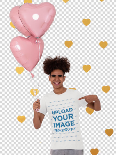 Transparent Mockup of a Man Pointing at His T-Shirt and Holding Heart-Shaped Balloons 31226