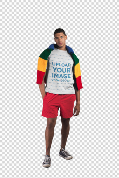 Transparent T-Shirt Mockup of a Man with Beach Clothing in a White Room 21078