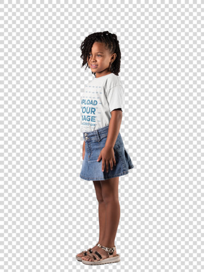 Transparent Mockup Featuring a Smiling Little Girl Wearing a T-Shirt and a Denim Skirt  22032