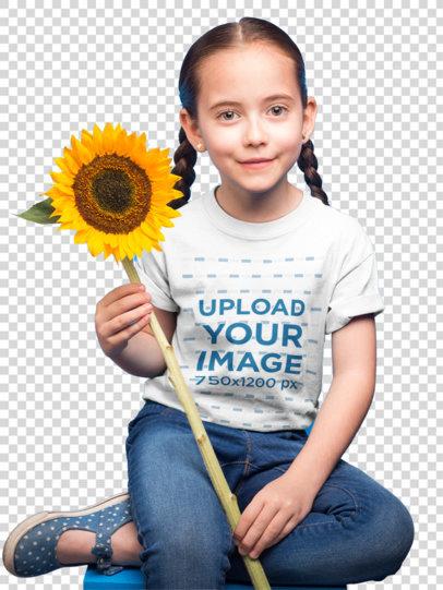 Transparent Little Girl with Braids Wearing a T-Shirt Mockup Holding a Sunflower a19732