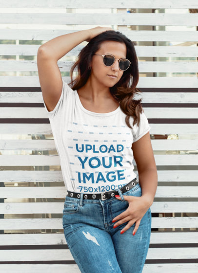 Transparent Heathered T-Shirt Mockup of a Serious Woman With Sunglasses 45350-r-el2
