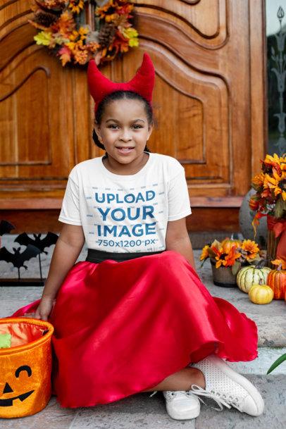 Transparent Halloween T-Shirt Mockup Featuring a Girl Wearing a Devil Horns Headband 29320