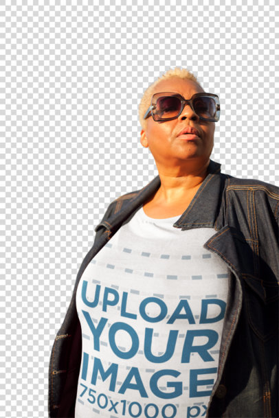 Transparent Mockup of a Woman Wearing a Plus Size T-Shirt in New York City 22572
