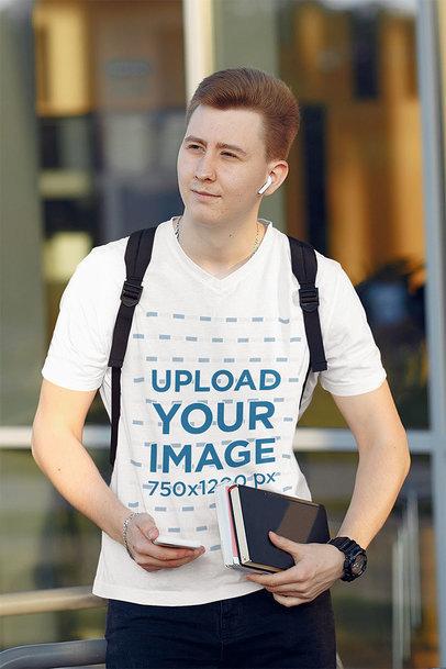 Transparent V-Neck Tee Mockup of a Young College Student Walking 39174-r-el2