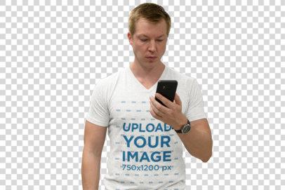 Transparent T-Shirt Mockup of a Man Looking at His Phone at the Subway Station 41165-r-el2