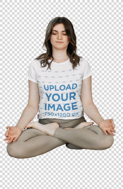 Transparent T-Shirt Mockup of a Woman Meditating on a Cushion 45602-r-el2