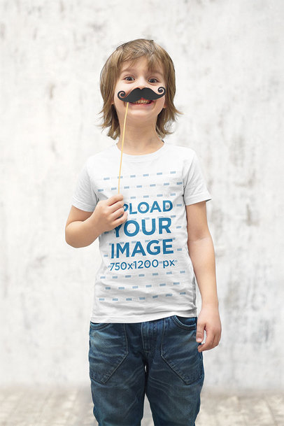 Transparent T-Shirt Mockup of a Little Kid with a Fake Mustache 39401-r-el2