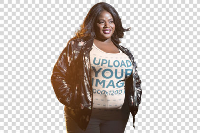 Transparent Mockup of a Happy Woman Wearing a Plus Size Tee on the Street 18225