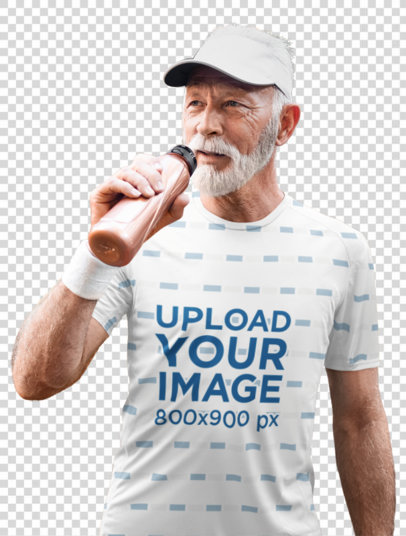 Transparent Sublimated Tee Mockup Featuring a Senior Man Drinking Water 45298-r-el2