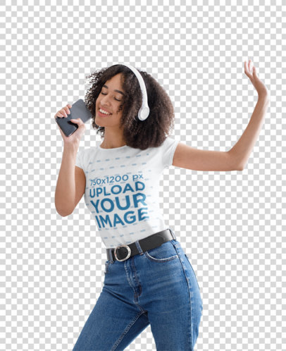 Transparent T-Shirt Mockup of a Woman Singing and Dancing at Home 44294-r-el2