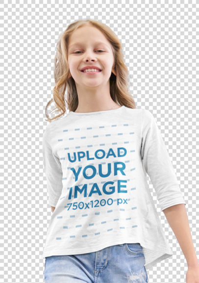 Transparent Three-Quarter Sleeve Tee Mockup Featuring a Happy Girl m2473-r-el2
