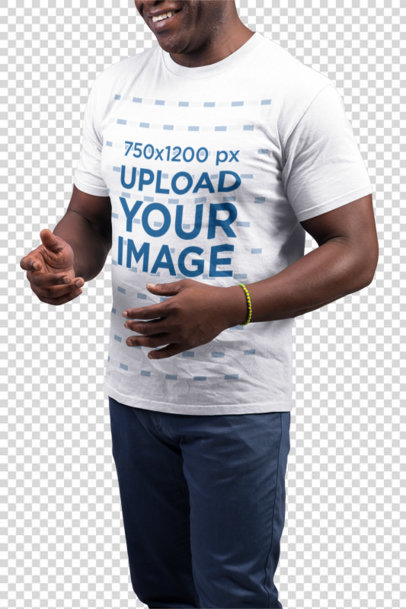 Transparent T-Shirt Mockup Featuring a Man with Blue Colored Pants 21487