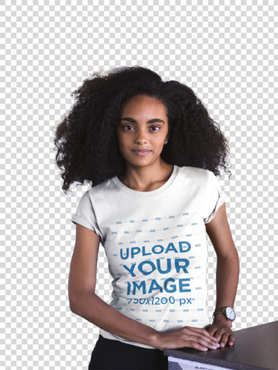 Transparent Mockup of a Woman with Curly Hair Wearing a T-Shirt at a Startup 20406