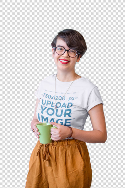 Transparent Hipster Girl Wearing a T-Shirt Mockup Holding a Cup of Coffee a20412