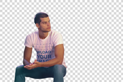 Transparent T-Shirt Mockup of a Young Man Sitting on Some Metal Stairs 39318-r-el2