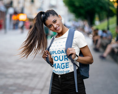 Transparent T-Shirt Mockup of a Student with a Long Ponytail 41399-r-el2