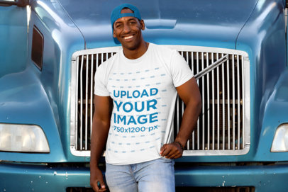 Transparent T-Shirt Mockup of a Man Leaning Against a Blue Truck 29477