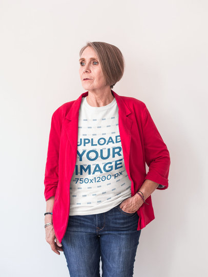 Transparent Portrait of a Senior Lady Wearing a Round Neck T-Shirt Mockup and a Red Jacket a20662