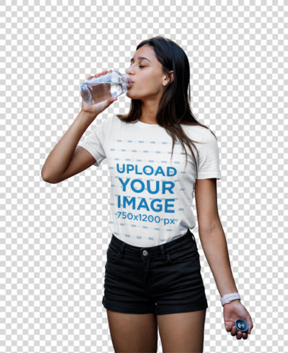 Transparent Round Neck Tee Mockup Featuring a Woman Drinking Water 45419-r-el2