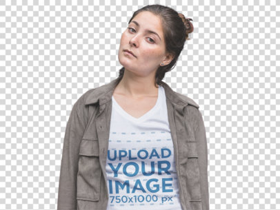 Transparent Mockup of a Serious Girl Wearing a Tee and Jacket  a11853