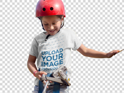Transparent Little White Girl Wearing a T-Shirt Template While About to Use a Zipline a16165