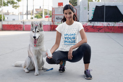 Transparent T-Shirt Mockup of a Woman Training Her Dog 30655