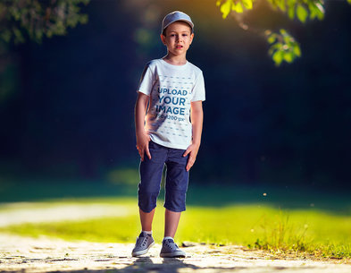 Transparent T-Shirt Mockup Featuring a Boy on a Sunny Day 2934-el1