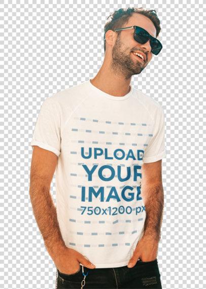 Transparent T-Shirt Mockup Featuring a Man With Sunglasses Posing at a Park m1509-r-el2