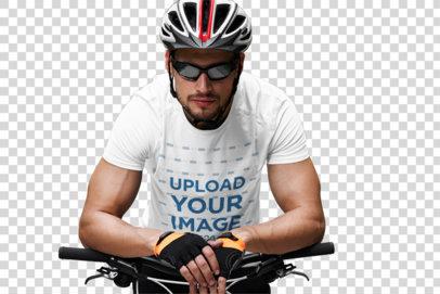 Transparent T-Shirt Mockup Featuring a Male Cyclist 38258-r-el2