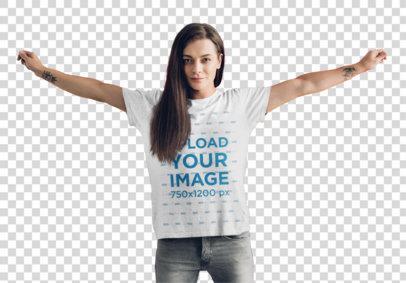 Transparent T-Shirt Mockup of a Woman Holding an LGBT Flag 46163-r-el2