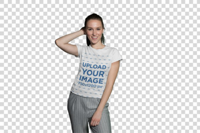 Transparent T-Shirt Mockup of a Pretty Girl With Trendy Pants at Night 26270