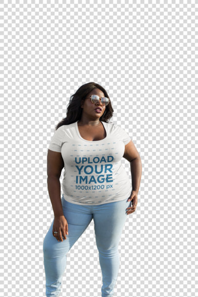Transparent Mockup of a Woman Wearing a Plus Size T-Shirt by the Beach 18294
