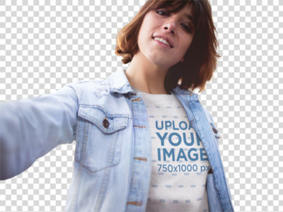 Transparent Mockup Selfie Featuring a Girl Wearing a Tshirt With a Denim Jacket On Top In The City a13573